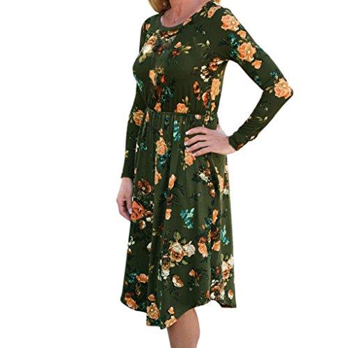 Damen Kleid LSAltd Frauen Herbst Weinlese Blumen gedrucktes Kleid langes Hülsen beiläufiges Abend Partei Kleid (Grün, S) Grün Abend Kleid