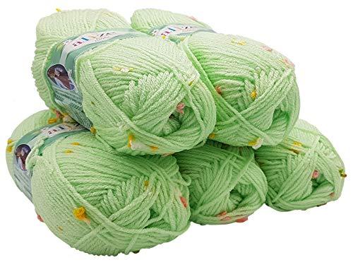 Alize Baby Flower 5 x 100 Gramm Wolle mit Farbtupfer, 500 Gramm Effektwolle, Strickwolle (Mint grün 5411) -