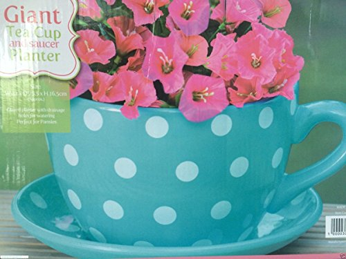Giant Blue With Pink Roses Design Tea Cup And Saucer Planter Flower