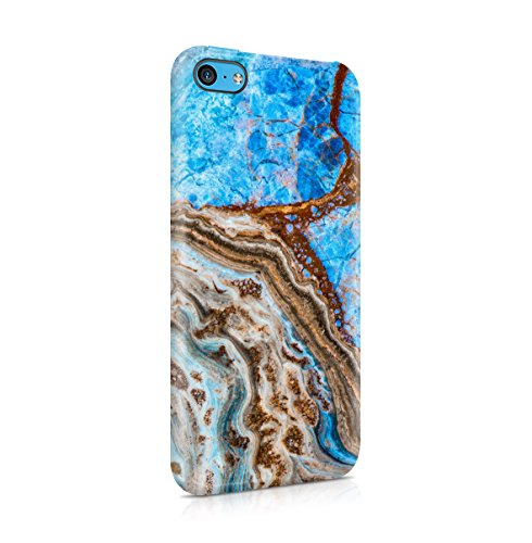 Rough Sapphire Marble Stone Print Apple iPhone 5 , iPhone 5S , iPhone SE Snap-On Hard Plastic Protective Shell Case Cover Custodia Tuquoise Marble