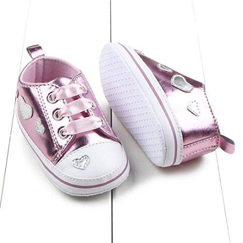 Hunpta Neue jungen Lauflernschuhe Infant Girl weiche Sohle Krippe Schuhe Sneaker (13, Rot) Rosa