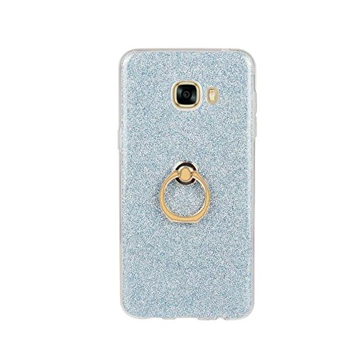 Luxus Bling Sparkle Style Case, Soft TPU [Silikon] Flexible Glitter Back Cover mit Fingerring Stand [Anti Scratch] [Shockproof] für Samsung Galaxy C5 ( Color : Pink ) Blue