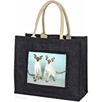 Two Siamese Cats Large Black Shopping Bag Christmas Present Idea