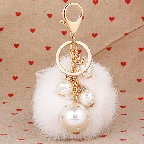 artistic9(TM) Frauen künstliche Kaninchenfell Ball Handy Auto Anhänger mit Perle Handtasche Charm Schlüsselanhänger Key Ring, weiß, 8 cm (Handy-charme-pelz-ball)