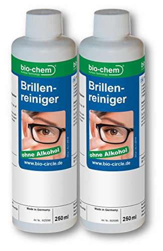 Anti-alkohol (bio-chem® SPARSET 500ml Brillenreiniger 2 x 250ml Nachfüllflasche I Brillenspray I Bildschirmreiniger I Screen-Cleaner I Anti-Statisch I Anti-Beschlag I Ohne Alkohol I Für alle Brillengläser, Display, Monitor, Smartphone, Handy, Computer, Laptop, Notebook, Tablets, Touch-Screens, Fernseher, TV, LED, TFT, Plasma, iPhone, iPad, iMac etc.)