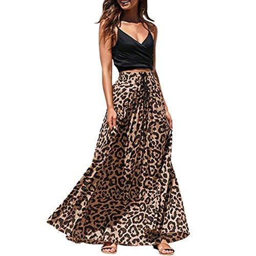 AIni Damen Leopard Print Lange Kordelzug Plissee Hoch Taillierte BöHmischen Maxirock Abendkleider BeiläUfiges Kleid Festlich Hochzeit Partykleid Leopard Print Legging-set