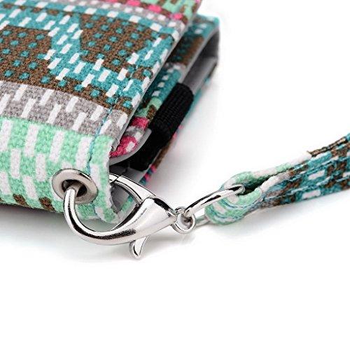 Kroo Téléphone portable Dragonne de transport étui avec porte-cartes pour Prune Gator/carreaux Plus Multicolore - vert Multicolore - vert