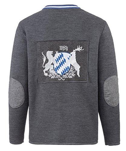 Trachtenjacke dunkelgrau Rundhals Stickung Hirsch (XL/52)