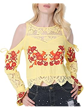 Zhhlinyuan Mujeres Women Fashion Embroidered Lace Hollow Splicing Tops Off Shoulder Shirt Casual