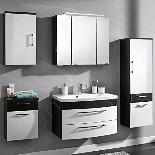 #Badezimmermöbel Badezimmer Badmöbel Set RIMAO-02 Hochglanz weiß, anthrazit, 80cm Waschtisch, LED Spiegelschrank (5 teilig)#