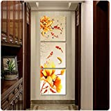 OLILEIOSalón Moderno pinturas decoran la versión vertical colgando foto restaurante estudio pasillo mural reloj lotus ,50*50,25mm de espesor de vidrio de hielo, 9 peces figura