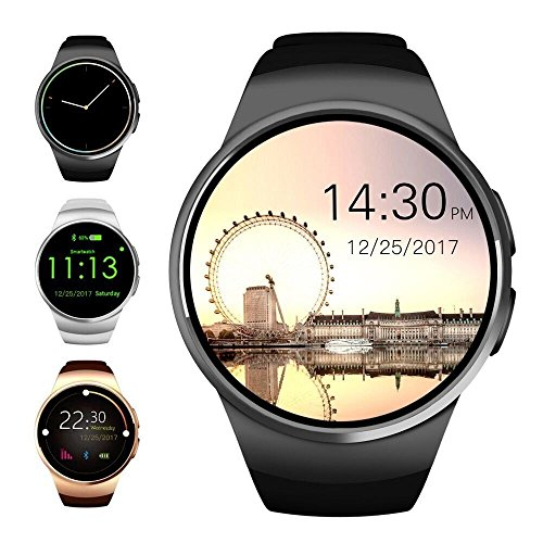 Evershop Bluetooth Smart Watch 1,5 inches IPS Round Touch Screen Smartwatch Phone with SIM Card and TF Card Slot with Sleep Monitor, Heart Rate Monitor and Pedometer for IOS and Android
