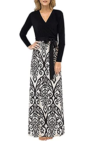 Tkiames Womens Floral Print High Waist Evening Party Long Sleeve Maxi Dresses (XL, Taupe and Black)