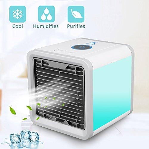 Mini Luftkühler Mobiles Verdunstungs Klimagerät Air Cooler Luftkühler/ Befeuchter /Luftreiniger Ventilator mit USB Anschluß oder Netzstecker - 3 Kühlstufen /7 Stimmungslichter