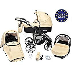 Baby Sportive Allivio - Sistema de viaje 3 en 1, silla de paseo, carrito con capazo y silla de coche, RUEDAS GIRATORIAS y accesorios