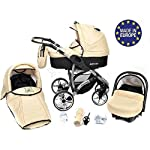 ALLIVIO, 3-in-1 Travel System with Baby Pram, Car Seat, Pushchair & Accessories, Black & Beige