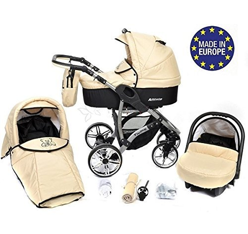 ALLIVIO, 3-in-1 Travel System with Baby Pram, Car Seat, Pushchair & Accessories, Black & Beige 51ywRRe1k7L