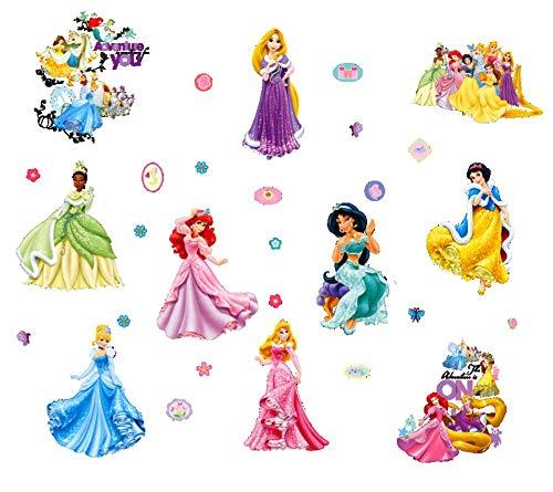 Kibi Disney Prinzessin Wandtattoo Kinderzimmer Prinzessin Disney Wandsticker Disney Prinzessin Wandaufkleber Kinderzimmer Wandsticker Babyzimmer Aufkleber Dekorative kunst 2 Blatt (Wandsticker Für Mädchen Disney)