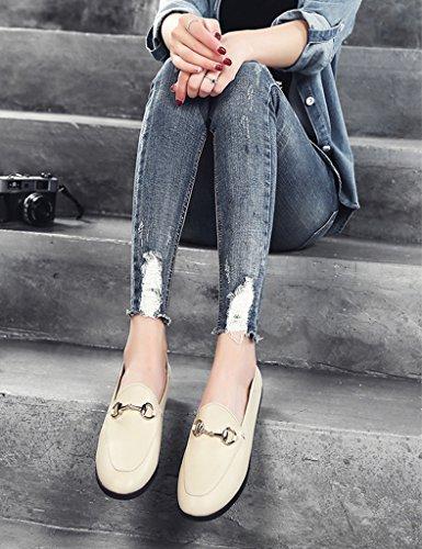 38 Pedale Beige Stile Bocca Donne Piatte Pelle Primavera In Calzature Donna Unico colore Britannico Asc Superficiale Casuali Formato qwTOFx