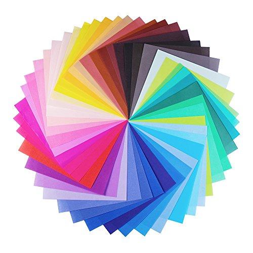 Opret Origami-Papier, 100 Blätter 20 x 20 cm Farben Faltpapier für Weihnachts-Origami Papier DIY Kunst und Bastelprojekte, 50 kräftige Farben