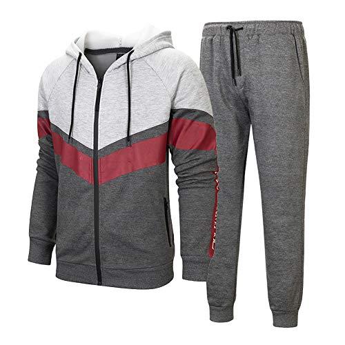 Manluodanni Homme Ensemble Jogging Sports Survêtement Manches Longues Zipper Sweat à Capuche Loisir Et Pantalons Slim 2 Pièces