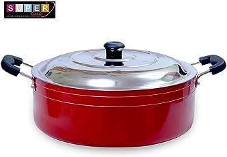 Super Classic 2.6mm Aluminium Non Stick Casserole Cookware, 22 cm 3.1 LTR, Red Color