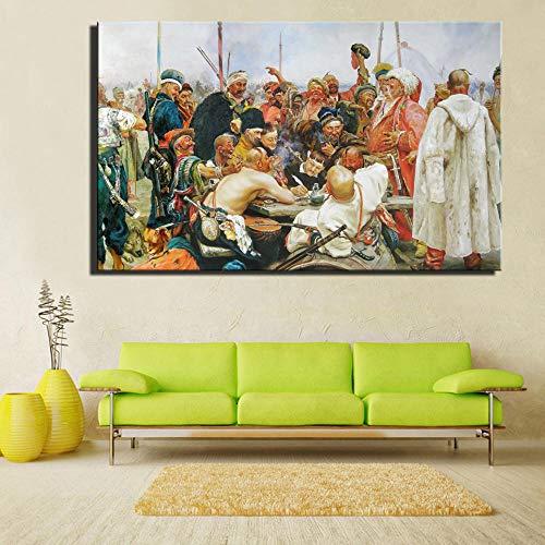 Die Antwort Der Saporosche Kosaken Auf Sultan Der Türkei Gemälde Wandkunst Bild Home Decor Geschenk 50Cmx70Cm