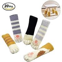 Yakamoz 20 Chair Socks (5 Sets), Cute Cat Paw Furniture Leg Covers Caps Pads, Reduce Noise Chair Socks Floor Protector
