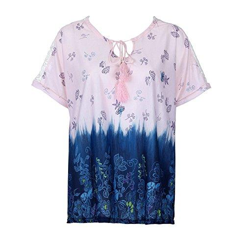VEMOW Elegante Damen Mädchen Womens Print T-Shirt Kurzarm Casual Datum Tägliche Gradienten O-Neck Bandage Tops Bluse T-Shirt Pullover(Rosa, 54 DE / 3XL CN) -