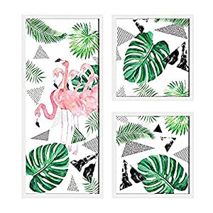Flamingo Framed Painting/Posters for Room Decoration, Set of 3 White Frame Art Prints/Posters for Living Room by Painting Mantra (1 Units 22 x 47, 2 Units 22 x 22 cm)