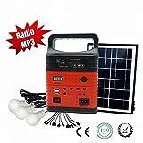 Wegner 10Watts Générateur Portable Power Inverter, 7000mAh Battery Pack UPS alimentation Rechargé par 7W Panneau solaire ou AC Power, DC 12V ports, 2ports USB, Red...