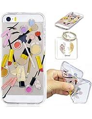 iPhone SE 5 5S Hülle Durchsichtig Silikonhülle für Apple iPhone 5/5S/SE (4.0 Zoll) Kratzfeste TPU Klar Transaprent Flexibel Weich Bumper Back Case Cover Tasche Schön Muster + Schlüsselanhänger */52