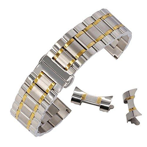 13mm fantacy Edelstahl Smartwatch Band Metall-Uhrenarmband Faltschließe mit zwei Tönen Silber & Gold (Swatch Invicta)