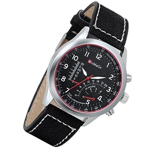 Lancardo orologio da polso con cinturino in pelle nero per uomo quadrante digitale termometro decorativo 24h, nero