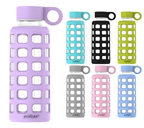 purifyou Glas-Wasserflasche mit Silikonhülle und Edelstahl-Deckeleinsatz, lavendel (Glas 24 Unze)