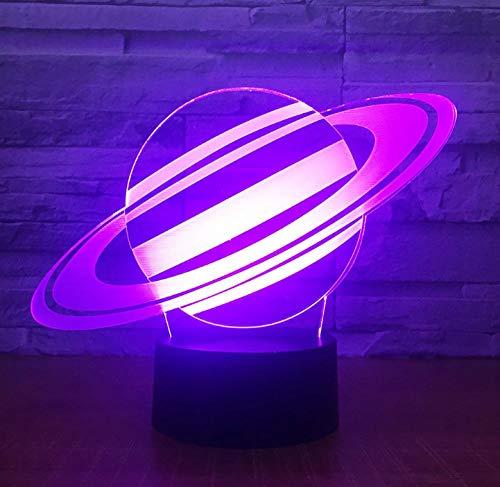 Wechselnde Saturn 3D Illusion Nachtlicht Planet LED USB Tischlampe Kreatives Schlafzimmer Dekorativ