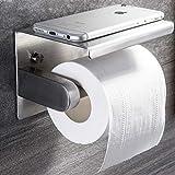 ZUNTO Toilettenpapierhalter mit Ablage Klorollenhalter Selbstklebend Klopapierhalter Edelstahl WC Rollenhalter Wandmontage