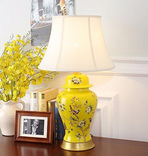 Kai-camera da letto matrimoniale completa di lampada di rame lampada in ceramica letto camera da letto lampada europeo e americano fiori semplici e uccelli, palazzo giallo coperchio