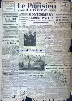 PARISIEN LIBERE EDITION DE 5 HEURES (LE) [No 128] du 13/01/1945