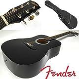 Fender Squier Kit de guitare folk acoustique, forme dreadnought, couleur noire, avec sac à dos pour le transport