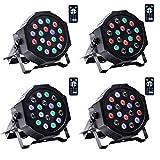 UKing 4pcs Luci da Palco 18 x 2W RGB LED Par Luce Illuminazione DMX 512 con Telecomando Wireless Luci da Discoteca per DJ Festa di Matrimonio Luci di Scena