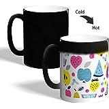 Printed Magic Coffee Mug, Black, Fruits
