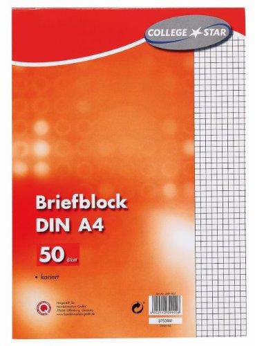 Brief-Block A4 60g 50Bl kariert, 10 Stück