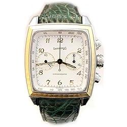 Mechanical Clock Men Eberhard 32034CP Steel quandrante Yellow Gold Leather Strap