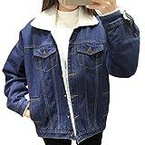 Mujer Engrosamiento Suelto Casual Retro Manga Larga Abrigos Chaquetas Jacket De Mezclilla Chaqueta Azul M