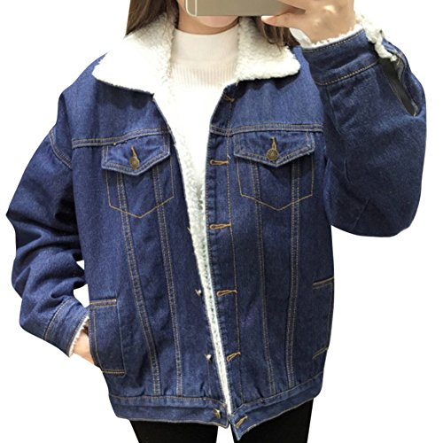 Jeansjacke Damen mit Fell Denim Lamm-Plüsch Jacket Trucker Jacke Mantel Übergangsjacke Outwear Blau L