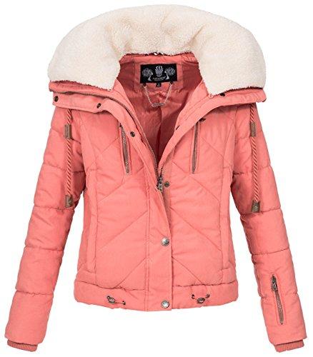 Navahoo Damen Designer Winter Jacke warme Winterjacke Steppjacke Teddyfell B605 Rosa