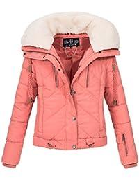 e76651d53c35 Navahoo Damen Designer Winter Jacke warme Winterjacke Steppjacke Teddyfell  B605