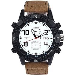 Men's Wrist Watch - PINBO Men's Large dial canvas Watch Band movement quartz Wrist Watch Coffee Band+White Dial