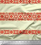 Soimoi Gelb Samt Stoff Streifen & Mandala Kaleidoskop Stoff